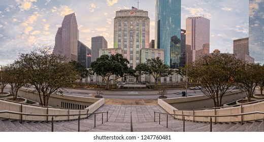 Sunrise Panorama of Downtown Houston and City Hall - Bagby Street Houston Texas Harris County