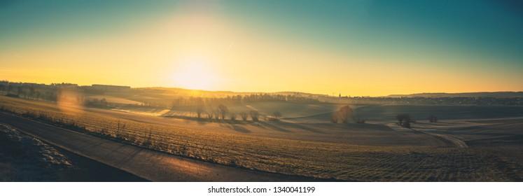 Sunrise Panorama of a franconian Landscape