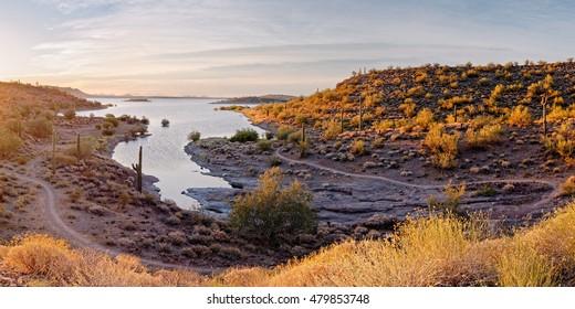 Sunrise Panorama of Lake Pleasant in Peoria Arizona