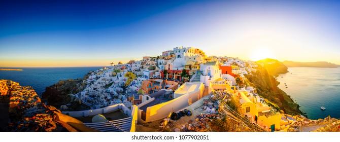 Sunrise panorama of Oia on Santorini island, Greece