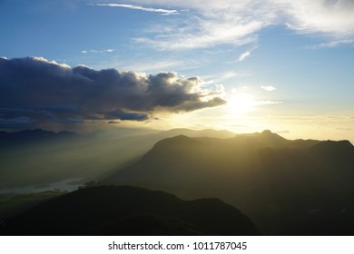 Sunrise panorama view at Adam's Peak, Sri Lanka