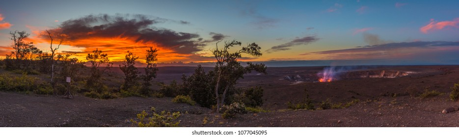 sunrise panoramic overlooking kilauea caldera and halemaumau crater - see the gas and glow from the active lava lake - in hawaii volcanoes national park