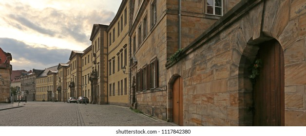 sunrise panoramic view on Bavarian architecture, old building lined of limestone on anciet street covered of cobblestone in Bayreuth, Upper Franconia, Bavaria, Germany, Europe, wallpaper  townscape