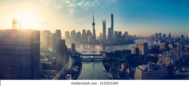 Sunrise panoramic view of Waibaidu Bridge and The Bund, Shanghai