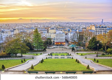 Sunrise in Paris, France. Panorama of the city from the hill of Montmartre at sunny morning