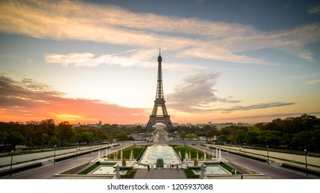 sunrise in Paris, in front of Eiffel tower