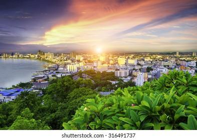 Sunrise at Pattaya City ,Thailand