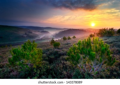 """Sunrise in """" The peace valley """" , north of Israel ."""