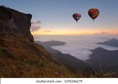 Sunrise with the peak of mountain and cloudscape at Phu chi fa in Chiangrai,Thailand