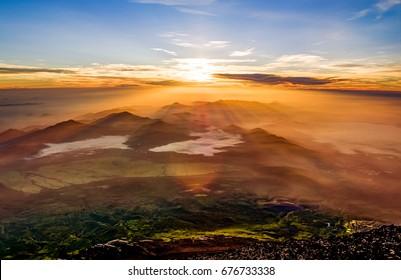 Sunrise from the peak of Mt. Fuji in Japan