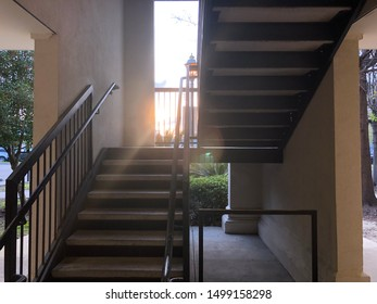 Sunrise peaking through a stairwell