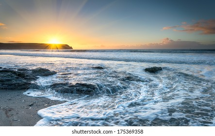 Sunrise at Pendower beach on the Roseland Peninsula in Cornwall