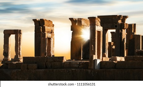 Sunrise in Persepolis. Iran. Ancient Persia. Sunrise and sunset background.