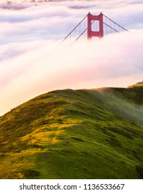Sunrise photo of the Golden Gate Bridge surrounded by fog