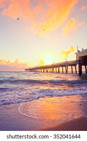 Sunrise at the pier in Dania Beach Florida near Miami