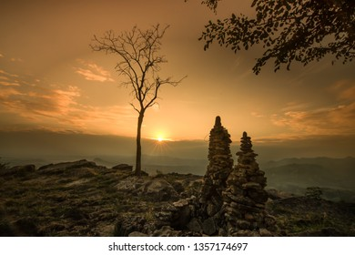sunrise point in atas angin, sekar,  bojonegoro, east java, indonesia.