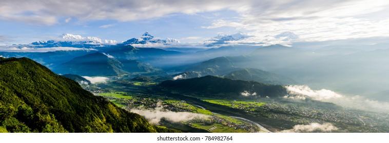 the sunrise at Pokhara