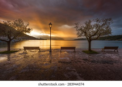 Sunrise in the port salo lake garda