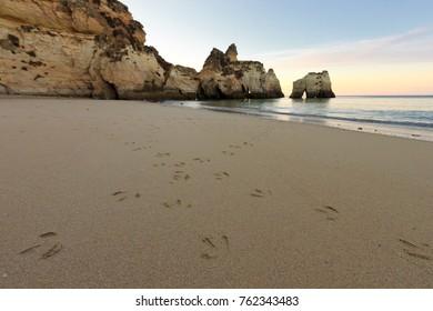 Sunrise in Portimao beach, Algarve, Portugal