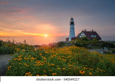 Sunrise at Portland Head Lighthouse in Maine.