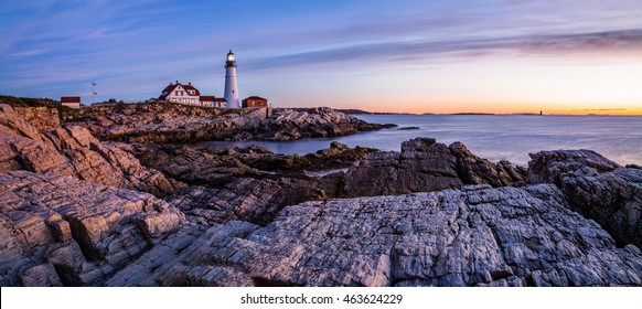 Sunrise at the Portland lighthouse initiates Another New England Day, The Portland Head Light, Portland, Maine, USA