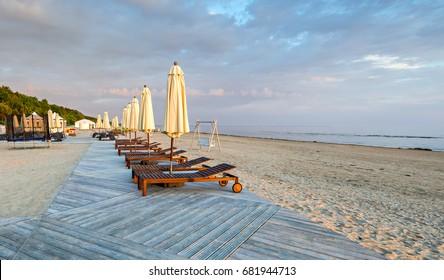 Sunrise at a public beach of Jurmala - famous international resort in Latvia, Europe