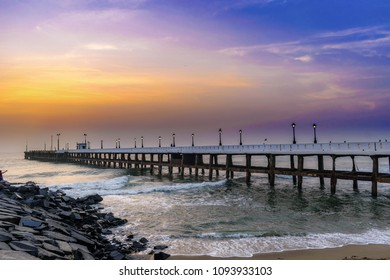 Sunrise at puducherry beach, India