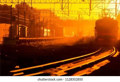 Sunrise at railway depot train morning scene. Morning sunrise in railroad depot. Train ride at morning depot scene