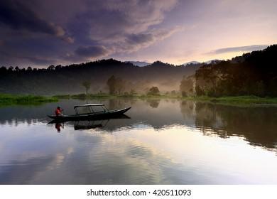 sunrise and reflection in lake locations Lake situ Gunung sukabumi,west java Indonesia