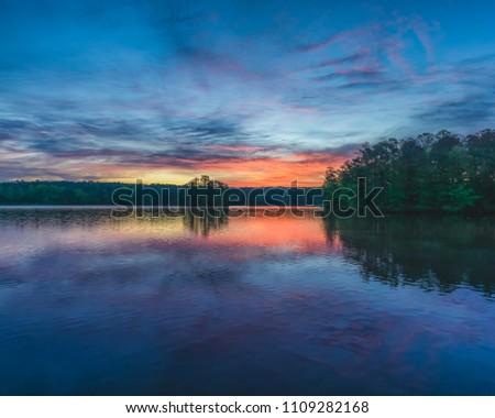Sunrise Reflection Stone Mountain Lake Stock Photo Edit Now