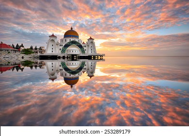 Sunrise reflections at Straits Mosque, Malacca. Nature composition