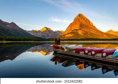 Sunrise Reflections of Swiftcurrent Lake from Many Glacier
