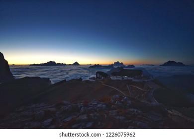 Sunrise at Rifugio Lagazuoi and Cable car station on the Lagazuoi mountain, Belluno, Italy