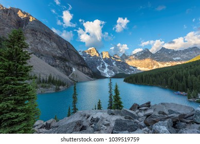 Sunrise at Rocky Mountains, Moraine lake in Banff National Park, Canada.