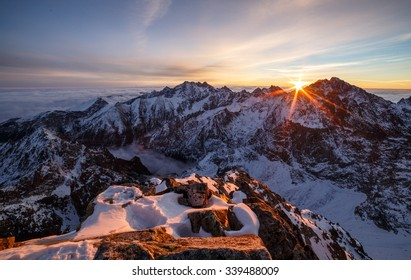 Sunrise from the rugged mountain summit, High Tatras, Slovakia