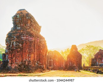 Sunrise in Ruins of Old hindu temples in My Son, Vietnam