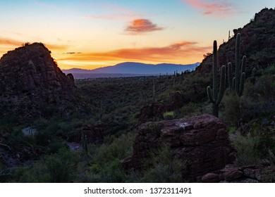 Sunrise in Saguaro National Park West in the Sonoran Desert with a dry wash, mountains and stone cliffs. Colorful clouds in the early morning sky in Picture Rocks. Beautiful landscape, Tucson, Arizona