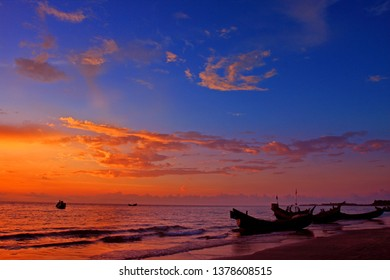 Sunrise at saint martin island.The Saint Martin's Island, locally known as Narkel Jinjira, is the only coral island and one of the most famous tourist spots of Bangladesh.