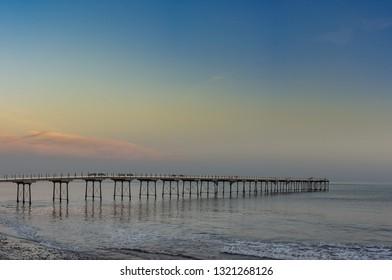 Sunrise at Saltburn by the sea. Coastal town on the north east coast of England.
