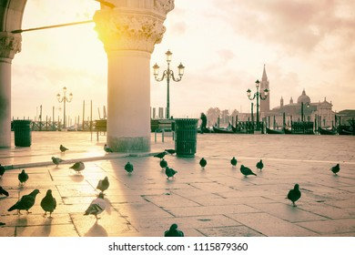 Sunrise at San Marco square, Venice, Italy. Vintage style photo