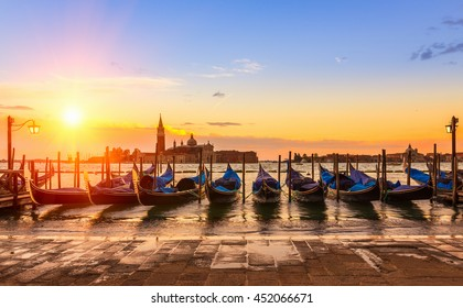 Sunrise in San Marco square, Venice, Italy. Venice Grand Canal. Architecture and landmarks of Venice. Venice postcard with Venice gondolas