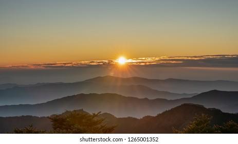 Sunrise of Sandakphu. It is the highest point of the Singalila Ridge in Darjeeling district on the West Bengal-Nepal border