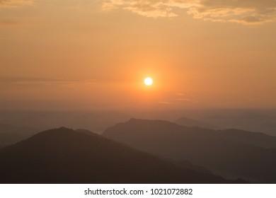 Sunrise at Sarangkot mountain near Pokhara city, Annapurna mountain range, Himalayas, Nepal