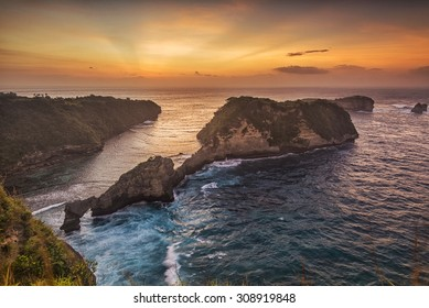 Sunrise scenery at Atuh Beach, Nusa Penida, taken from the hill.