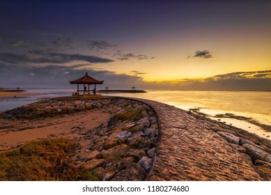 Sunrise scenery at Karang Beach, Sanur, Bali, Indonesia