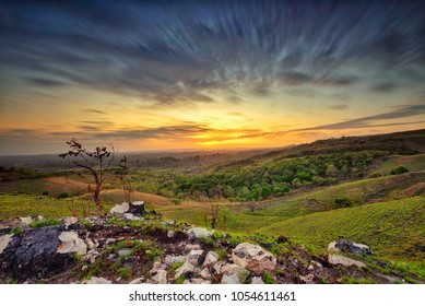 Sunrise scenery at Ladongara Hill, Sumba Island, Indonesia