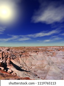 Sunrise scenic landscape of ancient petrified forest in Arizona