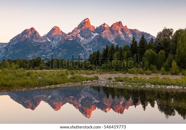 Sunrise at Schwabacher Landing, Grand Teton National Park