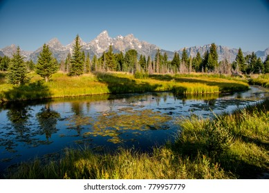 Sunrise at Schwabacher Landing, Grand Tetons National Park, Wyoming.