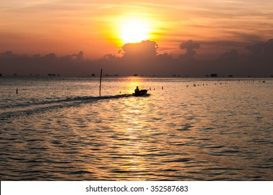 Sunrise at sea fisherman's house.